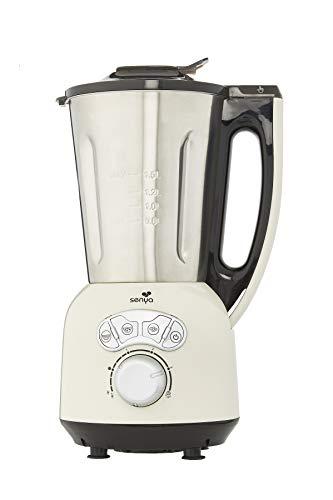 Senya SYCP-HB008C Blender Crème Chauffant INOX Cook & Ice V3, Mixeur Soupe Veloutée/Moulinée, Cuisson Vapeur, Glace Pilée Smoothies, 1, 5L,1400W, Métal, 1.5 liters