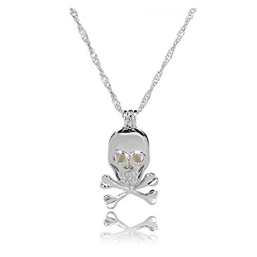 Collar delicado para mujer Collar para mujeres, cadena de clavícula de perlas de cráneo, moda colgante de collar simple para joyería de niñas, regalos para aniversario de cumpleaños Día de San Valentí