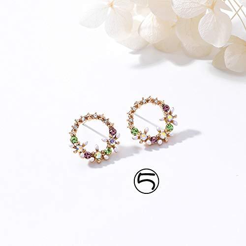Pendientes de perlas con diseño de flor de cristal para mujeres y niñas, elegantes, diseño de rosas, con forma de corazón, para regalo (color de metal: 5, tamaño: normal)