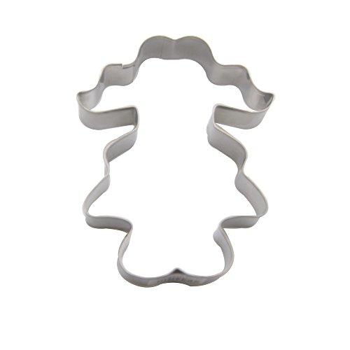 DeColorDulce Fille avec coletas Moule Biscuit, Acier Inoxydable, Argent, 13 x 10 x 3 cm