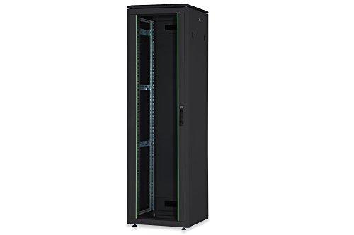 DIGITUS Netzwerk-Schrank 19-Zoll 22HE - 60x60 cm - Unique Serie - Traglast 800 kg - Nutztiefe 543 mm - Schwarz