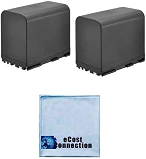 2 Li-on BP-970G Rechargeable Battery Pack for Canon GL1, GL2, XM1, XM2, XL1, XL1S, XL2, XL H1, H1A, H1S, G1, A1, G1 Camcorders & eCostConnection Microfiber Cloth