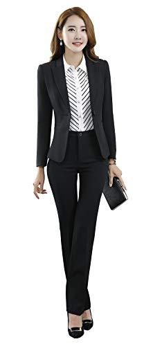 SK Studio Damen Business Hosenanzuge Slim Fit Blazer Reverskragen Karriere Hosen Anzug Set Schwarz 40