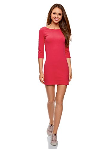 oodji Ultra Damen Baumwoll-Kleid Basic, Rosa, DE 38 / EU 40 / M