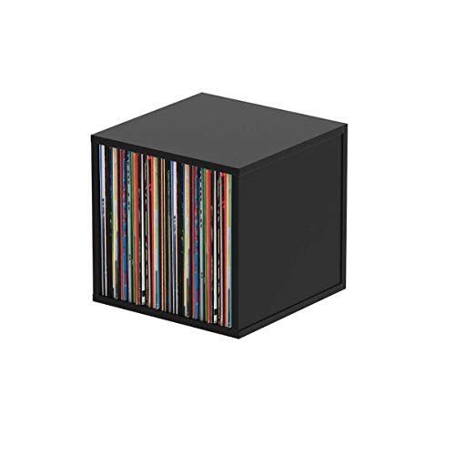 Glorious Record Box black 110 - bis zu 110 Platten im 12''-Format, Problemlos stapelbar, optisch abgestimmt, Lieferung ohne Dekoration, schwarz