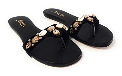 IOANNIS , Damen Sandalen Schwarz schwarz, Schwarz - schwarz - Größe: 41 EU