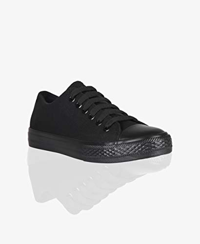 KRISP Zapatillas Mujer Tipo Estilo Imitación Casuales Lona Cordones Baja Alta Puntera Goma, (Negro (3690), 36 EU (3 UK)), 3690-BLK-3