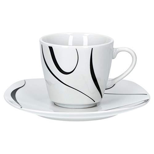 Van Well Galaxy 6er Set Espressotasse + Untertasse, Espresso-Set, Liniendekor, edles Marken-Porzellan