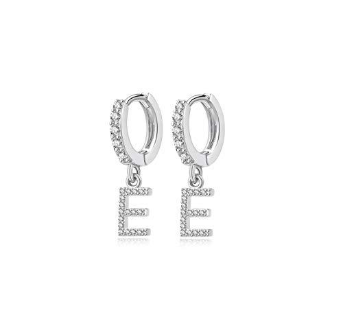 Hedoné - Pendientes con letra y colgantes iniciales del alfabeto con brillantes cúbicos y circonitas de aleación plateada - 2 pendientes.