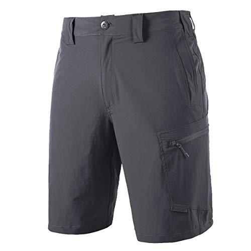 FREEKITE Men's Outdoor Ripstop Cargo Shorts Lightweight Quick Dry Hiking Tactical Work Shorts (Gray,32W/10L)