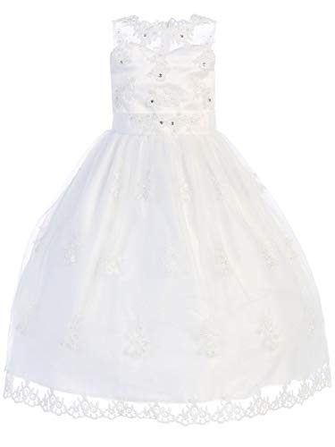 Swea Pea & Lilli First Communion Dresses for Girls 7-16 Mid Calf Plus Size Teens White (Size 8X)