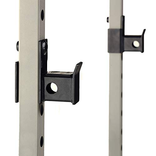 Fitness Reality Multi-function Adjustable Power Rack Squat Stand with J-Hooks, Land Mine, Adjustable Weight Horns, grey