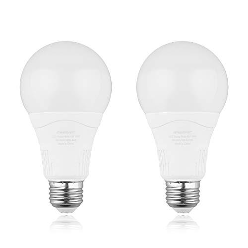 Radar Motion Sensor Light Bulb, 2 Pack A21 15W (100W Equivalent) 1500LM E26 Dusk to Dawn LED Bulbs Outdoor Lighting, Auto Motion Detector Light for Garage, Porch, Driveway, Patio,(Daylight 5000k)