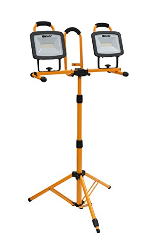 Woods WL40272S Portable LED Duel Work Light On Steel Tripod, 12000 Lumens, 140 Watts, 4000 Kelvin, 5 Foot Cord, Orange/Black
