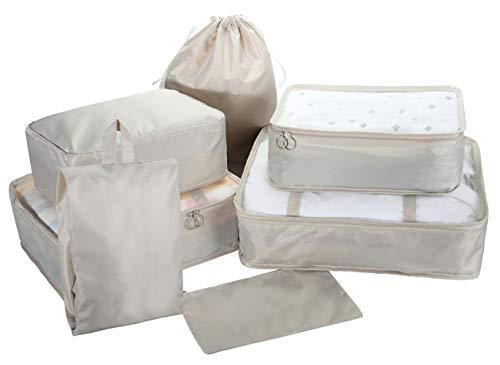 Lot de 7 Cubes de Rangement pour valises et organiseurs de Voyage Beige Beige - JN.LN.MIWT.7P.LSS