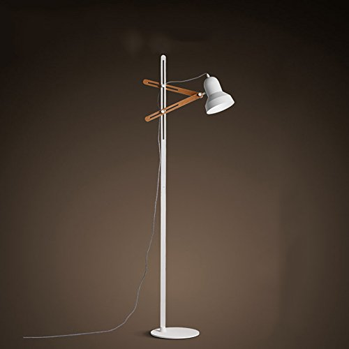 WYYY Lampadaire Vertical Parloir Simple LED Blanc Et Jaune Bois (Couleur : Blanc)