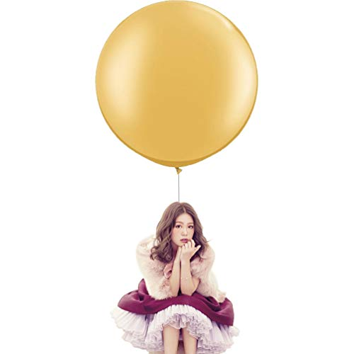 36 Inch Big Round Balloons 5 Pack Gold Thick Giant Balloons for Photo Shoot Wedding Baby Shower Birthday Party Decorations by IN-JOOYAA