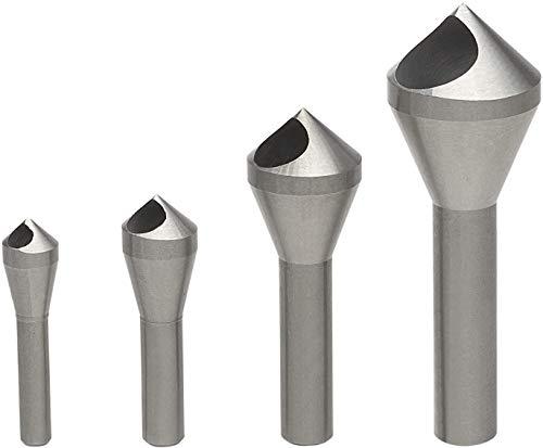 LESOLEIL 4PCS Chamfer Countersink Deburring Drill Bit Set DIY Drill Bit Deburring Tool for Wool Metal Plastic Silver