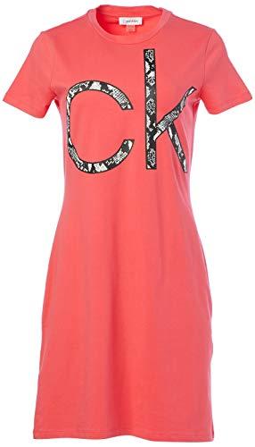 Calvin Klein Damen Short Sleeve Logo T-Shirt Dress Kleid, Wassermelone, Klein