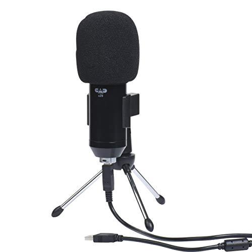 CAD AUDIO U29 USB microfono a condensatore a grande membrana (cardioide, 20 Hz - 20 kHz, convertitore A/D integrato, per MAC o PC, incl: Cavo USB, parabrezza, morsetto e supporto da tavolo), nero