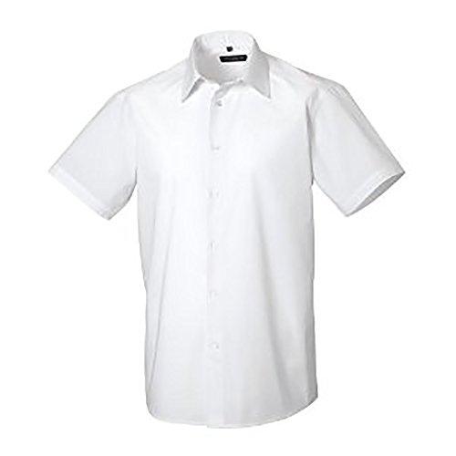 Russell Collection Heren korte mouw Poly-Katoen Gemakkelijk zorg op maat Poplin Shirt