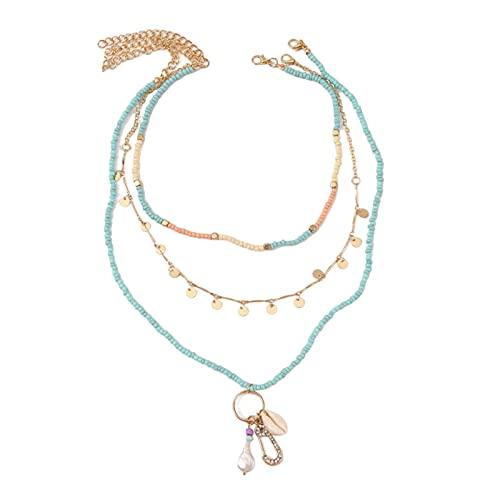 harayaa 1 Juego de collares de perlas de concha de de Playa para mujeres collar de cadena colgante accesorios de joyería de moda