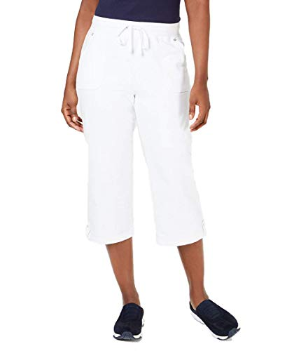 Karen Scott French Terry Capri Pants (Bright White, L)