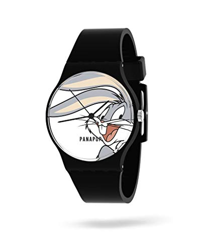 Panapop | CARROTS | Damen-Armbanduhr | Armbinde aus Silikon | Schwarz | Bugs Bunny | Looney Tunes