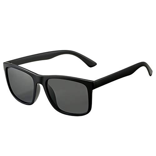 DeBuff Unisex Polarized Sunglasses Classic Retro Sun Glasses, Unbreakable TR90 Frame (Matte Black/Gray)