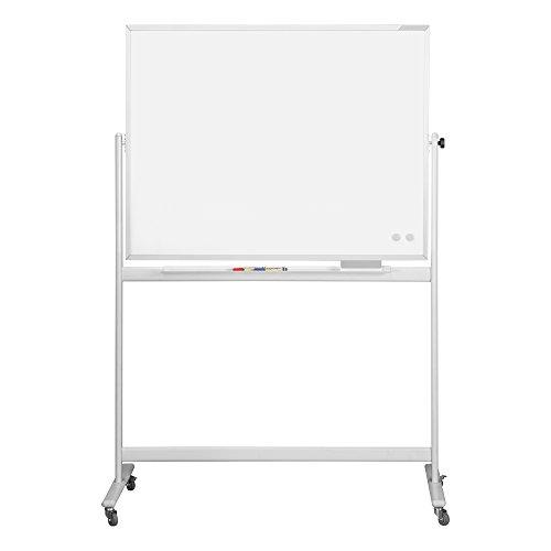 magnetoplan 1240889 Whiteboard mit Fahrgestell, speziallackierte Oberfläche, komplett mit Ablageschale für Marker und Zubehör, 1500 x 1000 mm
