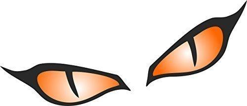Aufkleber für Motorradhelm und Auto, Motiv: böse Augen, Abmessung: 80x 40mm je Auge, orange, 1Paar