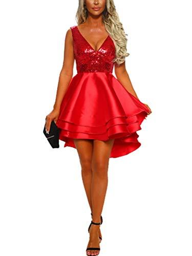 Minetom Damen Festlich Hochzeit Kleider Glänzend Pailletten V-Ausschnitt Ärmellos Prinzessin Tutu Cocktailkleid Partykleid Abendkleid Rot DE 34