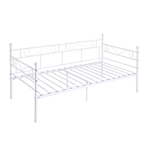 EGGREE 3ft Single Day Bed Scrub Metal Guest Bed Frame Sofa Bed with Solid Metal Slat, Ivory Beige