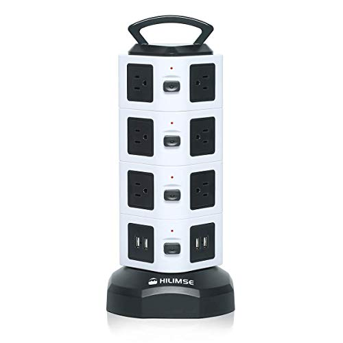 Power Strip Tower, Hilimse Surge Protector Electric Charging Station, 14 Outlet Plugs with 4 USB Slot 6 feet Cord Wire Extension Universal Charging Station