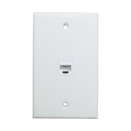 1 Port Ethernet Wall Plate - ESYLink Single Gang Cat6 RJ45 Ethernet Cable Cover Plate Female to Female Pass Through Faceplate - White
