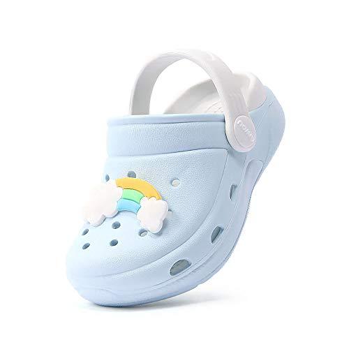 Zuecos Unisex Niños Lindo Sandalias de Playa y Piscina Infantil Niña Niño Antideslizante Zapatillas Verano Zapatos de Jardín Agua (Azul Claro 01,Taille 29-30 EU)