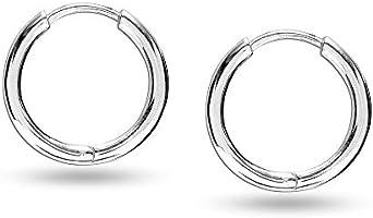 HIKARO Sterling Silver Jewelry Round Tube Endless Huggie Hoop Earring for Women 19 MM