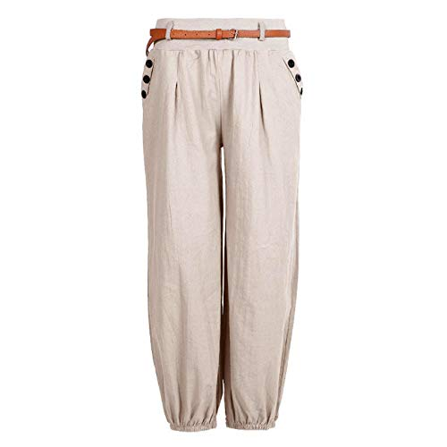 Sfit Women's Summer Trousers, Long Harem Trousers, Baggy Trousers, Linen, Loose Fit, Casual Trousers, High Fabric Trousers, Elastic Waistband, Slip-On Trousers with Belt and Pockets - Beige - XXL
