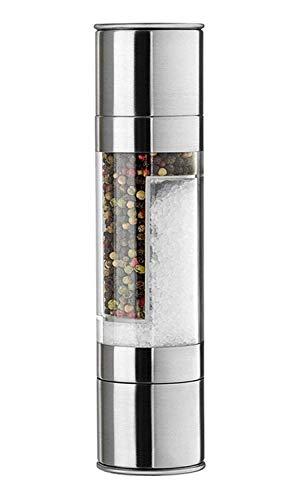 AXIDUN-Molinillo de Pimienta y Sal 2 en 1 Moledor de Acero Inoxidable Coctelera con Núcleo de Molienda de Cerámica y Botella de Vidrio con Compartimentos para Moler Sal y Pimienta Simultáneamente