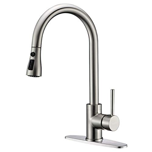 Delle Rosa Kitchen Faucet, Kitchen Faucet with Pull Out Sprayer, Pause Function 3 Water Mode Single Handle Pre-Rinse Pull Down Kitchen Faucet Brushed Nickel