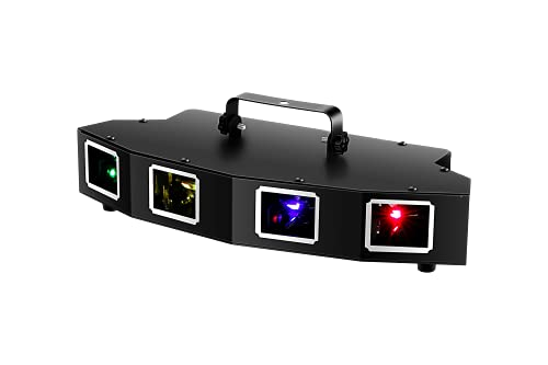 DJ Lights, U`King 4 Beam Effect Laser Lights Sound Activated DJ RGBY LED Projector Party Lights Music Lights by DMX Control for Disco Dancing Birthday Bar Pub Stage Lighting (2021 New Laser Light)