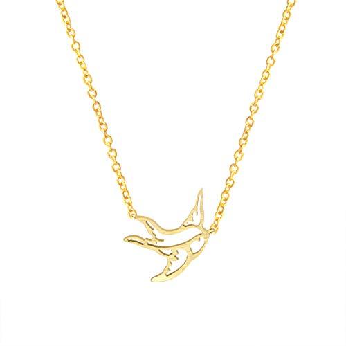 FyaWTM Collana Ciondolo for Girocollo Uccello Volante Collane Acciaio Inossidabile Colore Oro Rondini Regali Gioielli per Accessori da Donna