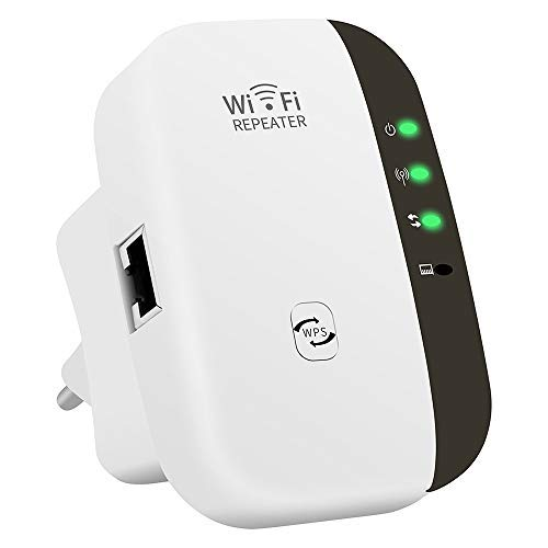 Repetidor WiFi, Banda Dual Amplificador de WiFi Inteligente Sin Interrupción 300Mbps 2.4GHz Inalámbrico con WPS Button Puerto Fast Ethernet, WPS, Modo Ap Punto Acceso