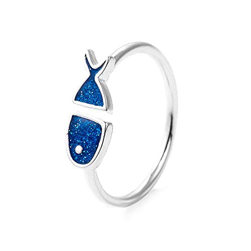WHX DamenRingeEdelstahl, Mode einfach Flut Mann Blaue Fisch Ring Persönlichkeit öffnen Student Ring Schmuck