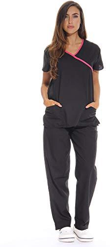 Just Love Women's Scrub Sets/5 Pocket Medical Scrubs Uniforms (Mock Wrap), Black With Pink Trim, X-Small