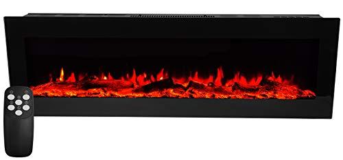 Elektrokamin Wandkamin mit LED Flammensimulation - Farbwechsel - inkl. Fernbedienung - Elektrischer Kamin Heizung Heizlüfter schwarze Glasfront Max.1800 Watt Leistung - 101,5x32,7x12,5cm