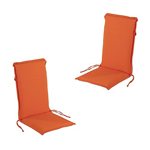Edenjardi Pack 2 Cojines para sillón de jardín reclinable estándar Naranja,...