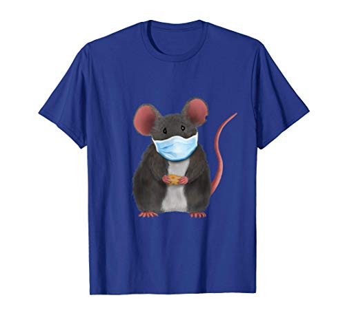 Kleine süße Maus / Ratte mit Gesichtsmaske (D010-0774B) T-Shirt