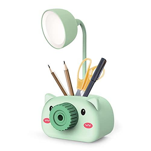 Aibecy Lámpara de escritorio de mesa recargable por USB LED Lindo portalápices de dibujos animados con sacapuntas Cuello flexible Luz nocturna para el cuidado de los ojos