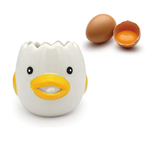 LNYFOUG Egg Separator Cute Cartoon Ceramic Egg Yolk White Divider Food Grade Strainer Filter Premium Baking Gadgets Kitchen Tool for Custards Mayonnaise (Yellow)